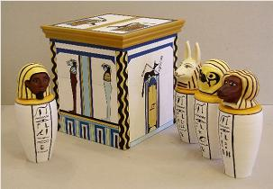 Egyptian Canopic Jars & Chest